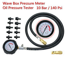 140Psi/10Bar Autos Wave Box Pressure Meter Oil Pressure Tester Gauge Garage Tool