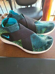 Nike Free RN Motion FK Flyknit Running Shoes Black Blue  880845-004 Sz 6.5 New