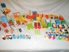 Vintage Fisher Price Little People Cars Farm Zoo Animals Stop Light Swing 92 Pcs