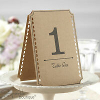 Vintage Style Table Numbers - Kraft Card - Freestanding Double-Sided (1 to 12)