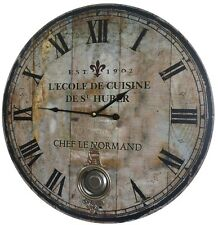 Grande Horloge Pendule a Balancier de Gare Cuisine salon ronde 58CM murale