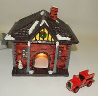 1988 Yuletide Snow Hamlet Christmas Village Lighted Fire Station Building #730