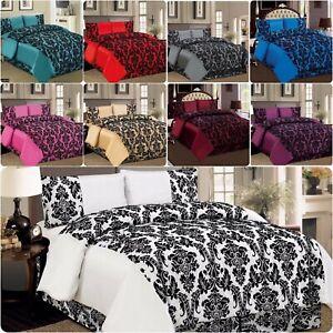 4PCS Piece Duvet Quilt Cover Bedding Damask Flock Complete Satin Set WitheVelvet