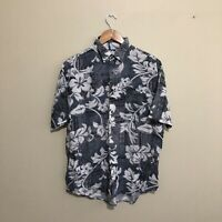 Hawaiian Shirt Floral Surfwear Vintage 90s Short Sleeve Grey White Mens Large