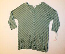 Liz Lange V-Neck 3/4 Sleeve Striped Maternity Top Women's Size L Color- Green