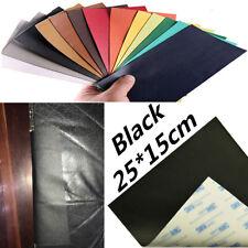Black PU Leather Self-adhesive Patch Sticker 25x15cm Car Seat Tear Cut Repair 1x