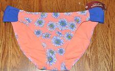 Arizona Jeans Womens' Orange Floral Blue Ruched Side Bikini Swim Bottoms Sz XL