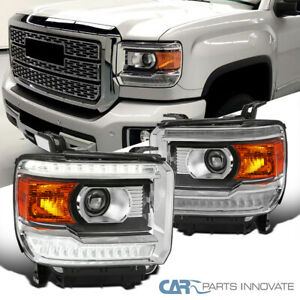 For 14-18 GMC Sierra 1500 Projector Headlights Lamps w/ LED Strip Left+Right