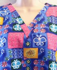 {SMALL} Factory Uniforms Medical Scrub Top V-Neck Butterfly/Flowers 2 Pockets