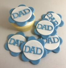 12 Edible Sugarpaste DAD Cupcake Toppers-  BIRTHDAY FATHERS DAY