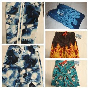 JOE BOXER Size 4 5 6 7 Swim Trunks Choice Flame Shark Plaid Swimwear