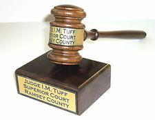 Gavel & Sound Block Walnut  Engraved New  Judge