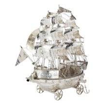"Stunning, English Sterling Silver Neff, 'Sailing Ship', Fine Detail. 26"" Tall."