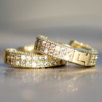 Unisex 925 Silver 14K Gold Diamond Round Hoop Earrings Women Men Fashion Jewelry
