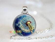 make a wish dandelion dome glass Tibet silver Chain Pendant Necklace wholesale