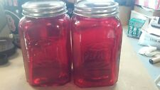 New Ruby Red Depression Style Glass Salt and Pepper Shakers Embossed Retro