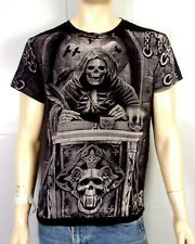 vtg 90s Survivors black metal Huge Skeleton Wraith T-Shirt D&D gaming SZ S