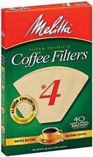 Melitta Super Premium #4 Cone Paper Coffee Filters Natural Brown, 40 Count