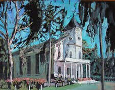 Evelyn Metzger (American, 1911-2007) Oil Painting on Wood Panel of a Church