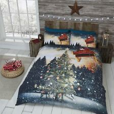 CHRISTMAS TREE BAUBLES FLYING SANTA SNOWY NIGHT GREEN BLUE KING SIZE DUVET COVER