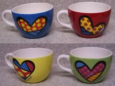 Romero Britto Cappuccino Mugs set of 4 coffee cup 16 ounce ea NEW with gift box