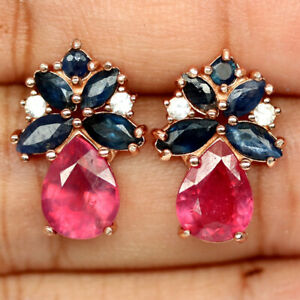 NATURAL PEAR RED RUBY SAPPHIRE & CZ EARRINGS 925 SILVER STERLING
