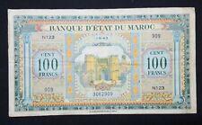 MOROCCO 100 FRANCS 1943 P- 27 OLD VINTAGE NORTH AFRICA BANKNOTE MORROCO MAROC