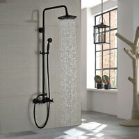 Oil Rubbed Bronze 8 inch Rainfall Shower Faucet Set With Hand Shower Mixer Tap