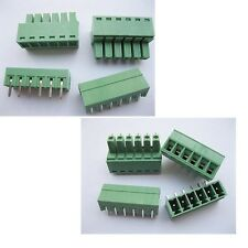 20pcs Screw Terminal Block Connector 3.5mm Angle 6 Pin Green Pluggable Type