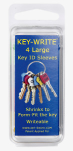 Key-Write Plastic Assorted LARGE KEY SLEEVES 4pk Shrinks To Form-Fit 040106 NEW!