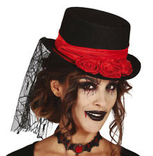 Ladies Black Top Hat Red Roses & Veil Day of Dead Victorian Gothic Halloween NEW