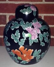 Large Famille Noir Ginger Jar Pot Vase Black Floral Oriental Porcelain Lamp Base