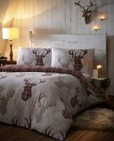 De Cama Tartan Check Stag Duvet Quilt Cover Set, NaturalBrown, Single