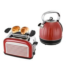 Frühstück Set 2tlg. Edelstahl Wasserkocher 1,7L Toaster Retro Design Rot Chrom