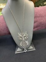 Vintage Bohemian Silver Owl Articulated Spirit Animal Boho Pendant Necklace 24""