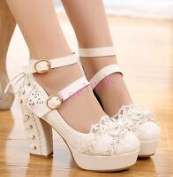 Lolita Bowknot Womens Block High Heels Shoes Ankle Strap Pumps Wedding Mary Jane