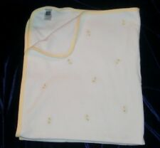 Carters Embroidered Duck Baby Blanket White Yellow Trim Cotton Receiving
