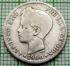 SPAIN ALFONSO XIII 1900 50 CENTIMOS, SILVER