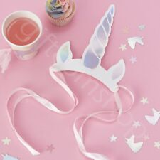 Iridescent Unicorn Horn Party Hats Kids Girls Birthday Party Favours Decor x 8