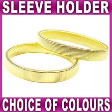 2x Shirt Sleeve Holder Arm Bands Garter Elasticated Metal Band Mens Sleeves Gold