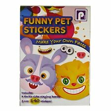 Pennine - FUNNY PET STICKERS Make Your Own Faces 140 Stickers, 3 Playing Boards