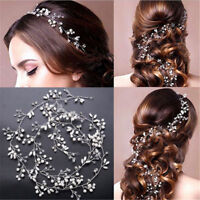 Wedding Hair Vine Accessories Bridal Crystal Pearl Headband Long Chain Headpiece