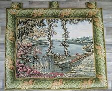 Tapestry Wall Hanging  Riverbank Terrace Scene 36 x 44