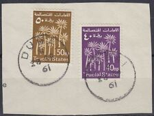 1961 TRUCIAL STATES 40np & 50np used in DUBAI, on piece [sr3144]
