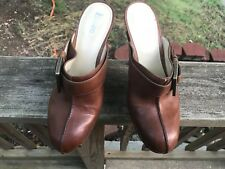 Enzo Angiolini Women's Brown Leather heeled clogs Size 8 M