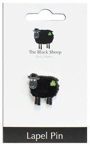 Irish Black Sheep Lapel Pin The with Green Shamrock Design Silver Colored Base