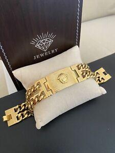 Classy Big Medusa Double Cuban Links Bracelet 18k Gold Filled