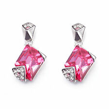 18K White GP Rectangle Pink Crystal Earrings with Swarovski Element Crystal E94