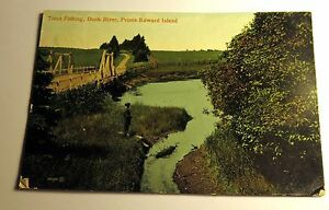 Color Postcard Fishing Dunk River, Prince Edward Island, Canada 1911 Postmark