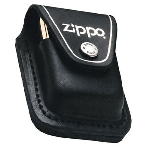 Zippo Genuine Leather Lighter Compact Pouch Press Stud Fastening Belt Loop Black